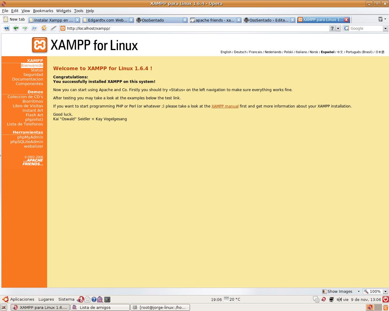 Inicio de Xampp