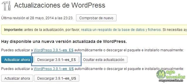 Descargar actualización wordpress