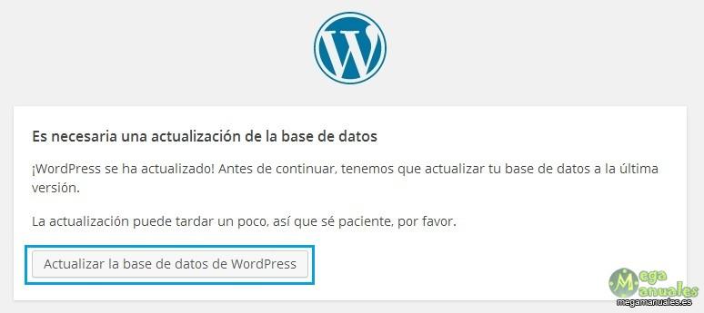 Actualizar base de datos WordPress