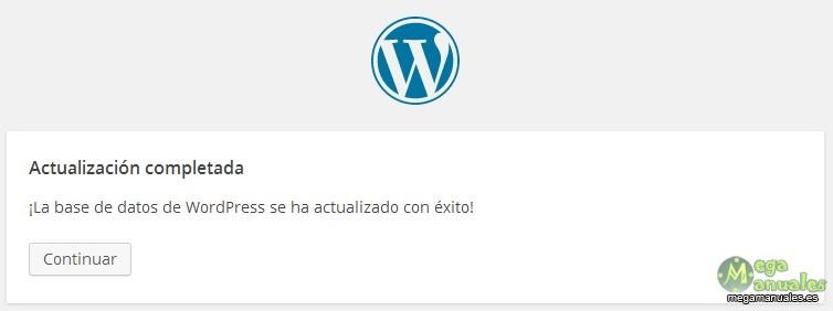 Base de datos de WordPress actualizada